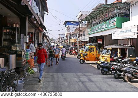 Kochi, Kerala, India -march 6, 2021 Indian Street In Covid Pandemic Period
