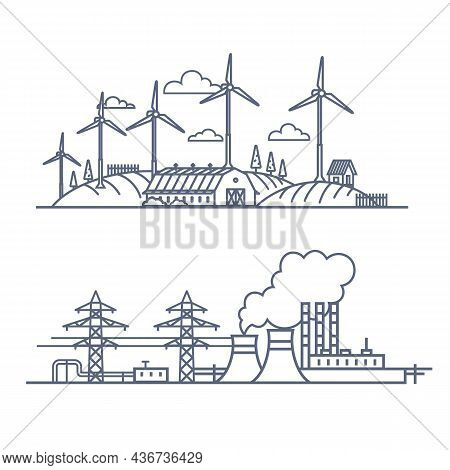 Fuel Energy Vs Green Power Concept. Vector Illustration Of Renewable Electric Vs Fossil Pollution Po