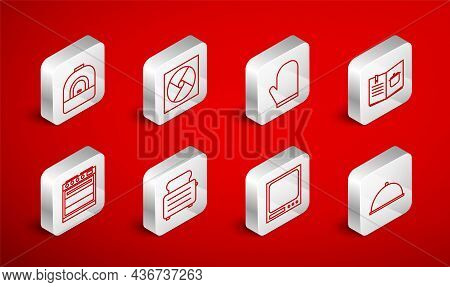 Set Line Covered With Tray, Ventilation, Oven Glove, Cookbook, Electronic Scales, Toaster Toasts And