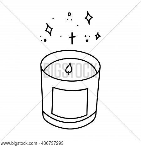 Burning Aroma Candle In A Glass Jar. Vector Illustration In Doodle Style Isolated On White Backgroun