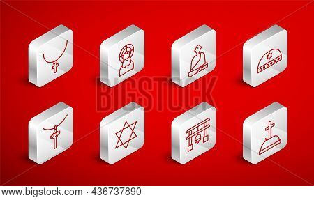 Set Line Tombstone With Cross, Jesus Christ, Buddhist Monk, Jewish Kippah Star Of David, Japan Gate,