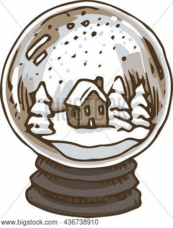 Snow Globe With Christmas Trees And Little House Inside. Vector Illustration Isolated On White Backg