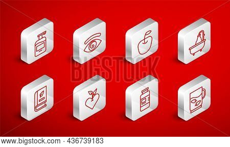 Set Line Cup Of Tea And Leaf, Hypnosis, Apple, Bathtub, Collagen Serum, Bottle Liquid Soap, Heart An