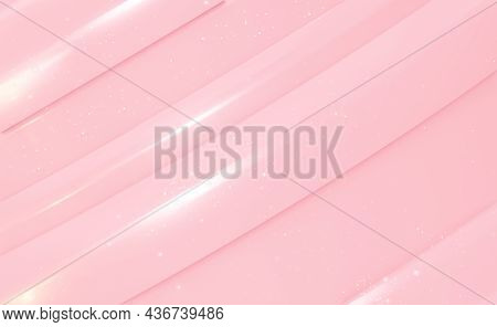 Abstract Convex Pink Background With Lines And Magical Sparkles. 3d Rendering.