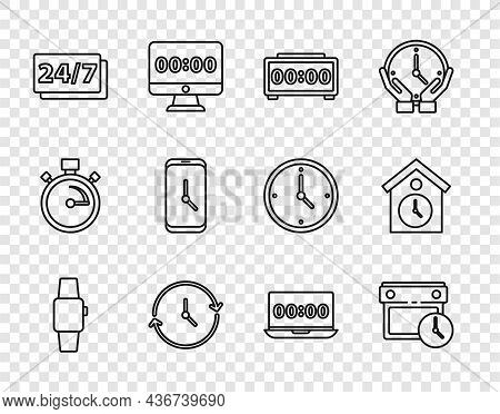 Set Line Smartwatch, Calendar And Clock, Digital Alarm, Clock, 24 Hours, Alarm App Mobile, On Laptop
