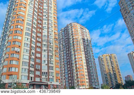 Kyiv - Ukraine. 09 March 2019:apartment Building. View Of Multistory Modern Blocks Of Flat In Kyiv.