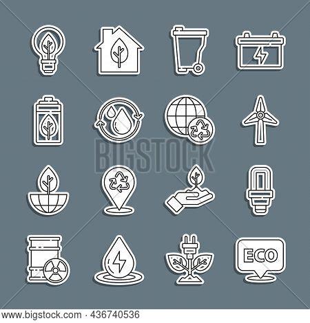 Set Line Label For Eco Healthy Food, Led Light Bulb, Wind Turbine, Trash Can, Recycle Clean Aqua, Ec