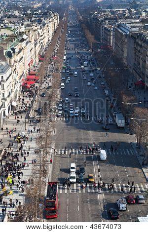 Above View Of Avenues Des Champs Elysees In Paris