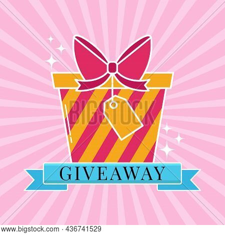 Giveaway Poster Template Design For Social Media Post Or Website Banner. Gift Box On Pink Striped Ba