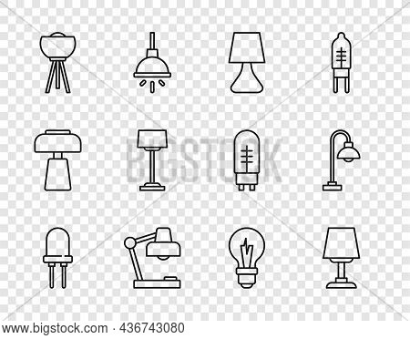 Set Line Light Emitting Diode, Table Lamp, Floor, Bulb And Icon. Vector