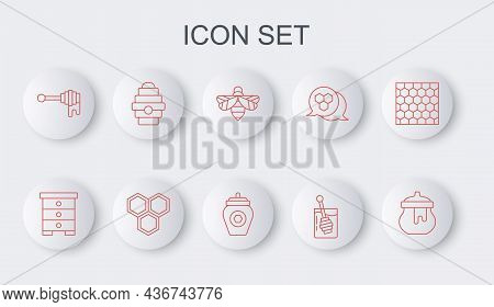 Set Line Jar Of Honey, Hive For Bees, Bee, Honey Dipper Stick, With, Honeycomb And Icon. Vector