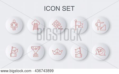Set Line Flag, Hand Holding Flag, Target, Head Hunting, Stair With Finish, Award Cup And Folded Pape