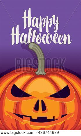Vector Banner For Halloween Party With Orange Pumpkin Head And Inscription On A Purple Background. S