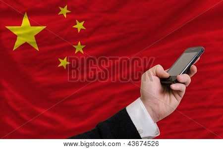 Cell Phone In Front  National Flag Of China