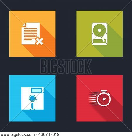 Set Delete File Document, Hard Disk Drive Hdd, Floppy In The 5.25-inch And Stopwatch Icon. Vector