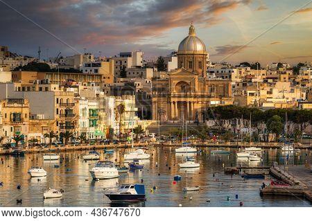 Beautiful scenery of Kalkara at sunset, Malta.