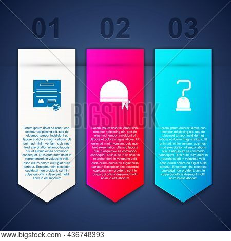 Set Decree, Parchment, Scroll, Pirate Bandana For Head And Hook. Business Infographic Template. Vect
