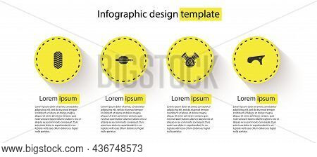 Set Car Tire, Door Handle, Engine And Fender. Business Infographic Template. Vector