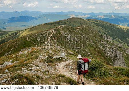 Summer Hikes In The Mountains. Beautiful Mountains Landscape, Carpathians, Ukraine