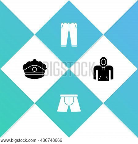 Set Police Cap With Cockade, Men Underpants, Pants And Hoodie Icon. Vector