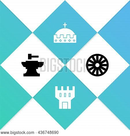 Set Anvil For Blacksmithing Hammer, Castle Tower, King Crown And Old Wooden Wheel Icon. Vector