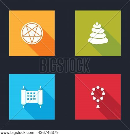 Set Pentagram In A Circle, Stack Hot Stones, Decree, Paper, Parchment, Scroll And Rosary Beads Relig