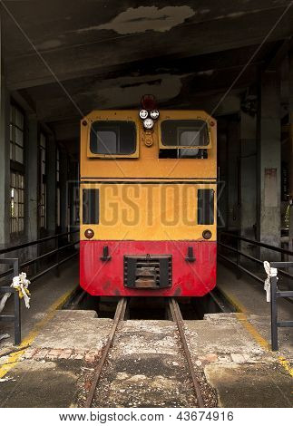 Train At The Old Service Depot In Taiwan