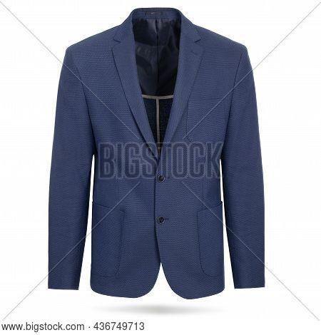 Men Midnight Blue Jacket, Suit On A White Background. Mens Jacket Isolated On White With Clipping Pa