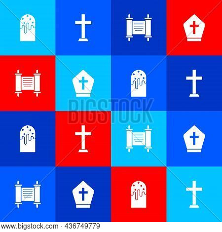 Set Easter Cake, Christian Cross, Decree, Paper, Parchment, Scroll And Pope Hat Icon. Vector