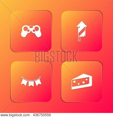 Set Gamepad, Firework Rocket, Carnival Garland With Flags And Piece Of Cake Icon. Vector