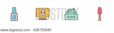 Set Bottle Of Nail Polish, Manicure, And Nail Icon. Vector