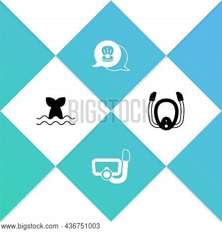 Set Whale Tail, Diving Mask With Snorkel, Scallop Sea Shell And Icon. Vector