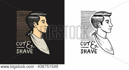 Side View Of A Guy With An Apron. Barber Shop Badge And Label, Logo And Hipster Emblems. Haircut Of