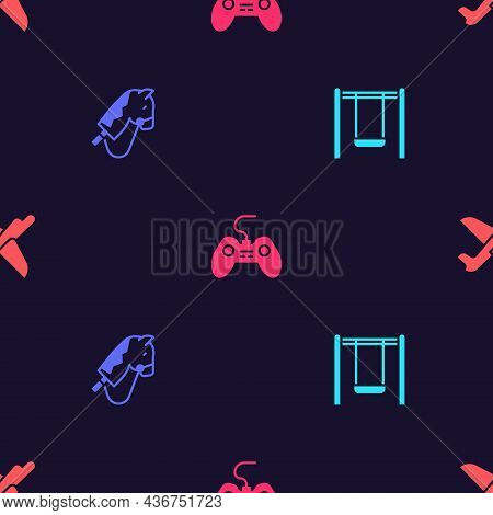 Set Swing, Toy Horse, Gamepad And Plane On Seamless Pattern. Vector