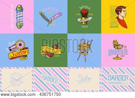 Barber Shop Badge And Label, Logo And Hipster Emblems. Tools For Man Icon. Haircut Of Beard And Must