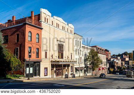 Bangor, Me - Usa - Oct. 12, 2021: Three Quarter View Of The  Penobscot Theatre Company On Main Stree