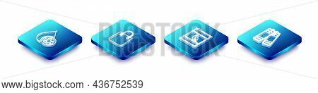 Set Isometric Line Recycle Clean Aqua, Shopping Bag, Bio Fuel Barrel And Battery Icon. Vector