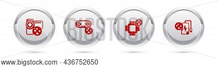 Set Line Video Camera Service, Gamepad, Processor And Power Bank. Silver Circle Button. Vector