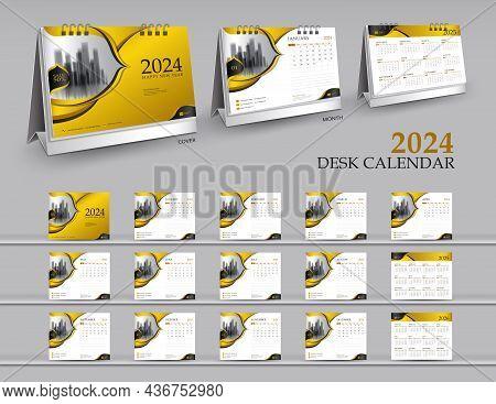Calendar 2024 Template Set On Gold Background, Calendar 2025-2026 Year, 3d Mockup Desk Calendar 2024