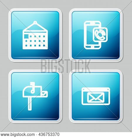 Set Line Calendar, Mobile Phone Call, Open Mail Box And Mail And E-mail Icon. Vector