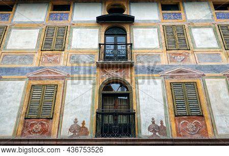 FIERA DI PRIMIERO, ITALY -  27 september 2021 - Architectural detail in Fiera di Primiero, Pale di San Martino, Trentino Alto-Adige, Italy, Europe