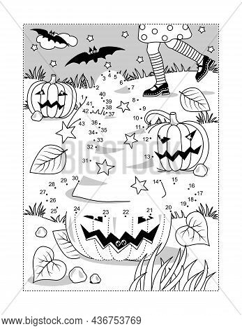 Halloween Witch's Hat Dot-to-dot Picture Puzzle And Coloring Page With Young Witch Chasing Her Hat L