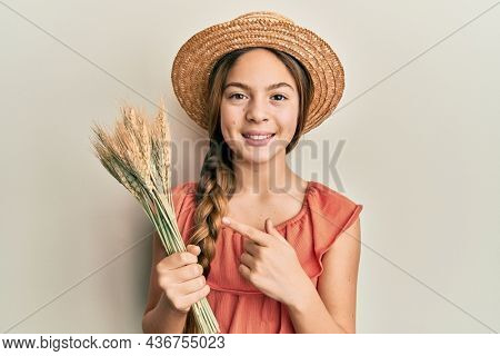 Beautiful brunette little girl holding spike wheat smiling happy pointing with hand and finger