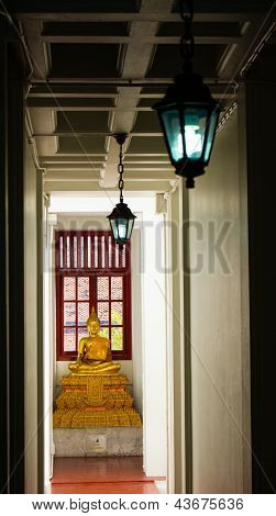 See buddha statue in the night time with candle light in northern area of Thailand poster