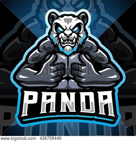 Panda Fighter Esport Mascot Logo With Text