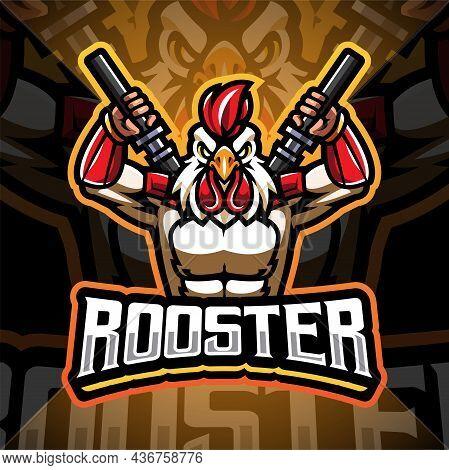Ninja Rooster Esport Mascot Logo Design With Text