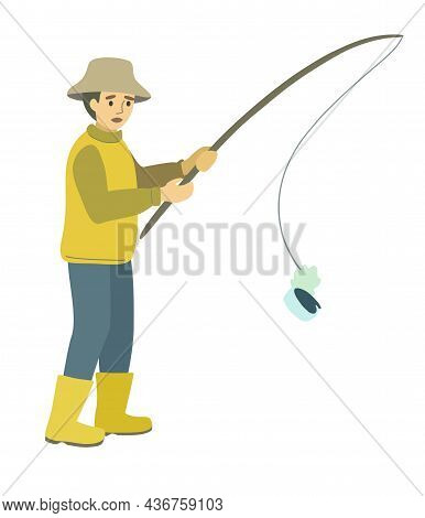 The Fisherman Hooked A Tin Can Instead Of Fish. Cartoon Concept Illustration About Ecology And Pollu