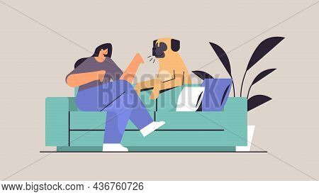 Young Woman Spending Time With Dog Female Owner And Cute Domestic Animal Friendship With Pet Concept