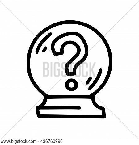 Asking Crystal Ball Line Vector Doodle Simple Icon