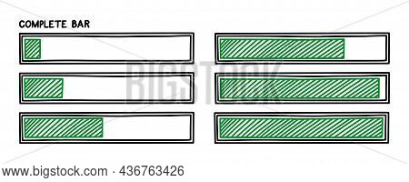 Progress Loading Bar. Infographics Design Element With Green Status Of Completion. Hand Drawn Vector